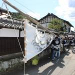 さ・山田神社の大幟旗たて