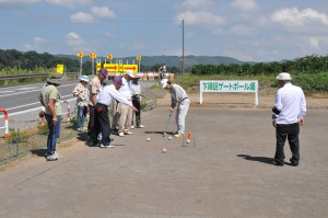完成記念で行った下県区と今岡区民の交流試合